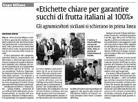 Etichettatura chiara per garantire al Consumatore succhi 100% Italiani
